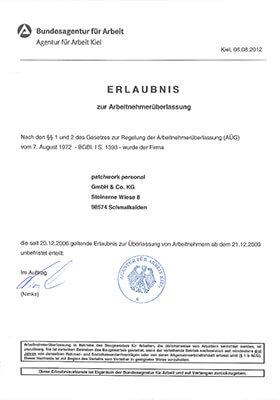 Vorschau - Erlaubnis Arbeitnehmerüberlassung